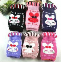 Wholesale Half Finger Gloves warm computer typing gloves lovely rabbit head knitting gloves Christmas gift