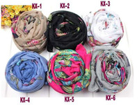 Wholesale butterfly viscose shawls scarves ladies printe long slik plain popular gift scarf