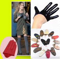 Real Leather fashion gloves leather - Sex and the City ultrashort black women fashion half palm leather sheepskin gloves