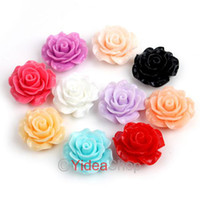 Charms   330pcs New Free Postage Mixed 11 Colors Resin Rose Flower FlatBacks Cabochons Beads 18mm 111579