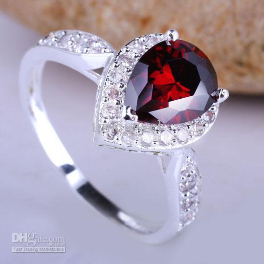 2017 cute silver wedding ring sz 6 pear red garnet yin j7353 from timejewel 721 dhgatecom - Garnet Wedding Rings