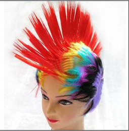 Wholesale Big Discount New Fashion Colorful Cosplay Costume Party Spike Hair Wigs Props Hot Sell