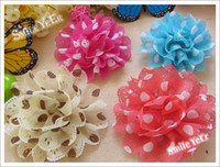 Wholesale 30pcs Cute Baby Autumn Headwear inch Shabby Chiffon Flower Hairclip Girl Hair Bow Baby flower