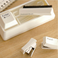 Wholesale Creative Office Mini keyboard Stationery Set Puncher Stapler Keyboard Brush