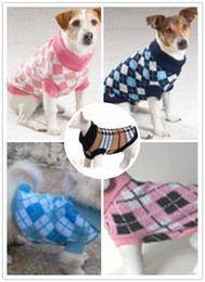 Wholesale pet clothes coat apparel sweater classic check pattern round neck high collar XS S M L XL mixed size