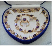 Wholesale Mother s Day gift true Amethyst gold filled Earring Bracelet Necklace Ring Jewelry set