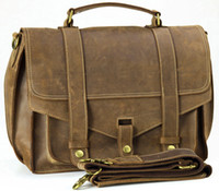 Wholesale Vintage Mens Bull Real Leather Briefcase Messenger Shoulder Bag Tablet Case