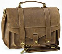 Wholesale Vintage Mens Bull Real Leather Briefcase Messenger Shoulder Bag Tablet Case