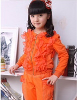 Wholesale High Quality Girl tracksuit Leisure Trend agaric Lace chiffon children clothing tracksuit kids suit