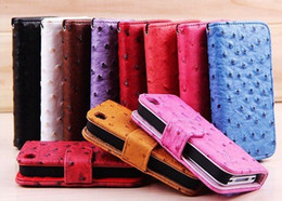 for Iphone 4 4s wallet leather Iphone 4 Ostrich Wallet Case