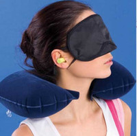 Wholesale Anti tampering Air Pillow Goggles Earplugs Travel U shaped Inflatable Pillow