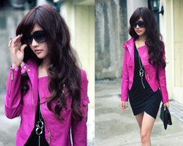 Wholesale Womens Korea Sexy Leather Hot pink Ladies leather Fur Outwear Clothing