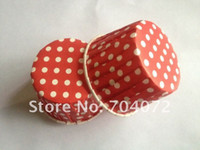 Wholesale food grade paper muffin cake red colors Polka Dot Paper Cupcake cases