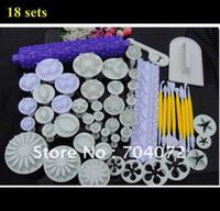envío libre 18 series pastel fondant decoración establecido cinta rodante Imprimir cortador del émbolo de Sugarcraft Plu