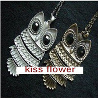 Wholesale Vintage style copper silver color owl long Pendant Necklace
