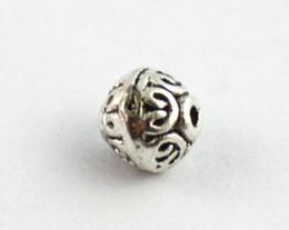 100 PCS Tibetan silver Metal spiral heart round spacer beads A8398