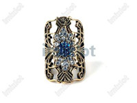 Wholesale Fashion Punk Rock Rivet Rhinestone Vintage Ring Knuckle Flower Gothic Retro Rings VR177
