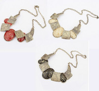 Wholesale Fashion Bronze Tone Metal Wire Print Ellipse Resin Gem Choker Necklace women s jewelry