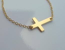 10pcs* Gold & Silver Horizontal Sideways Cross Necklace Side Celebrity Pendant Necklace
