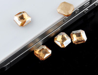 Wholesale 18 mm Champange Square Shaped Crystal Glass Flatback Rhinestones Top A For Phone Case