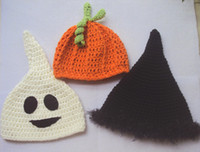 autumn ghost - Crochet baby halloween s hats handmade Y children s caps ghost witch pumpkin hats cotton yarn
