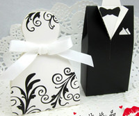 Wholesale Black and white Dress Candy Box Bride And Groom Western Wedding Candy Box Piece pairs