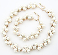 Wholesale Fashion Crystal Rhinestone Pearl gold Plated Choker Necklace Bracelet Set Party Wedding Jewelry