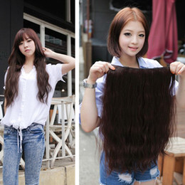 Wholesale ladies wavy synthetic hair pieces clip in hair extension wigs
