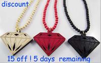 Wholesale off necklaces colors diamond pendant wood chain necklace Hip Hop jewelry