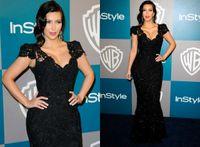 Reference Images V-Neck Lace Kim Kardashian Mermaid Black Lace Evening Dress Cap Sleeve V-Neck 2012 Golden Globes Party Gown