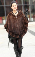 Wholesale Mink fur coat mink fur coat mink woven cloak type hooded shawl mink