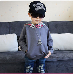 Wholesale ISSOKIDS Children Hoodies Boy Fashion Cotton Long Sleeve Overcoat Baby Clothing A1254 gray
