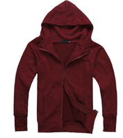 achat en gros de vin hommes pull rouge-201205 vin rouge hommes's casual veste de couverture Mince chandail à Capuchon hommes's hoodies sweat-shirt mens