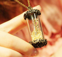 Wholesale Vintage Style Engraving Clear Glass Beads Love Vow Bottle Necklace women s jewelry