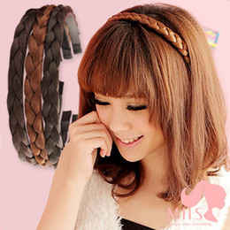 Wholesale ladies hair bands synthetic hair accessories braid headwear colors