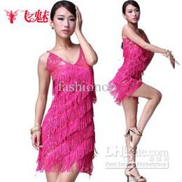 Wholesale 2014 New Women s Dress Stage Wear Dance Costume Sequined Suspenders Tassel Colors Latin Dresses FMWD SF