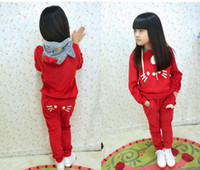 Wholesale 2012 Autumn Girl s tracksuit Korean Cartoon velvet cat hoodies pants children suit kids clothing set