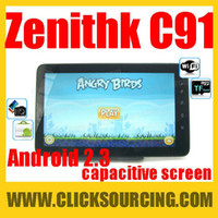 Wholesale 10 Zenithink ZT C91 Cortex A9 Android Multi touch Capacitive screen Tablet PC G sensor Fla