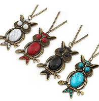 Wholesale Vintage Style Faux Gem Bronze On Branch Owl Pendant Necklace mix colors unisex jewelry