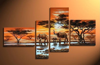 More Panel beauty coconut oil - 100 hand Painted Oil Painting on Canvas Coconut Grassland elephants Beauty dance Painting