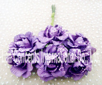 Wholesale Wedding DIY Handmade Craft Paper Flower decoration paper Flowers LA0036 purple