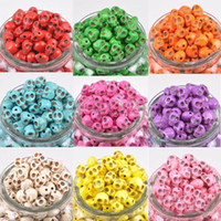 Wholesale 500pcs Mix Color mm Skull Beads Charms Loose Beads Fit Bracelets Necklace