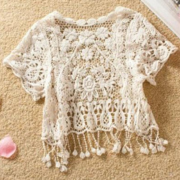 Wholesale Tank top crochet Tassel Lace weskit Dress Cape Shawls Sexy Tank Cape Waistcoat Lace shawls T12090131