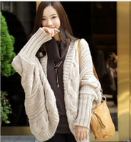 Wholesale 503 Korean thicken sweater irregular coarse lines loose long shall Gentiana bat knit cardigan