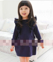 4T-5T Cotton Blends Spring / Autumn Korean version of the children's clothing Autumn new fly sleeve models Girls long-sleeved dress