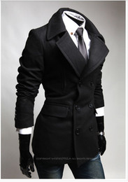 Wholesale Fashion Slim Fit Men Casual trench coat Mens Long Winter Coats Mens Wool