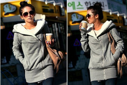 Wholesale Korea Women Hoodies Warm Zip Up Sweatshirts Grey Colors