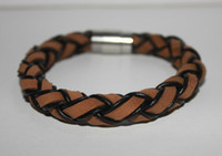 Wholesale titanium tornado leather bracelet ropes braided magnetic clasp wristband tibetan men s jewelry