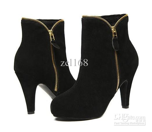 Side Zip Up Platform High Heels Black Ankle Boots Womens Bootie Shoes