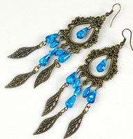 Wholesale New Fashion Bohemian Style Antiqued Art Jewelry Tassel Blue Beans Alloy Earring stud earrings